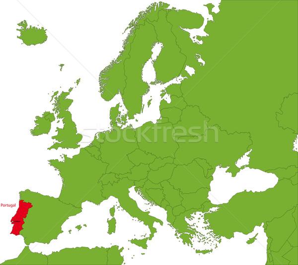 Portugália térkép helyszín Európa földrész város Stock fotó © Volina