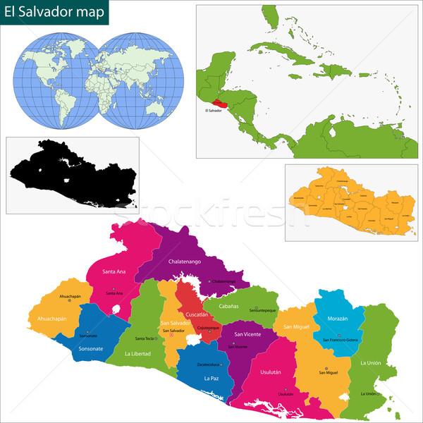 エルサルバドル 地図 共和国 市 デザイン 色 ストックフォト © Volina