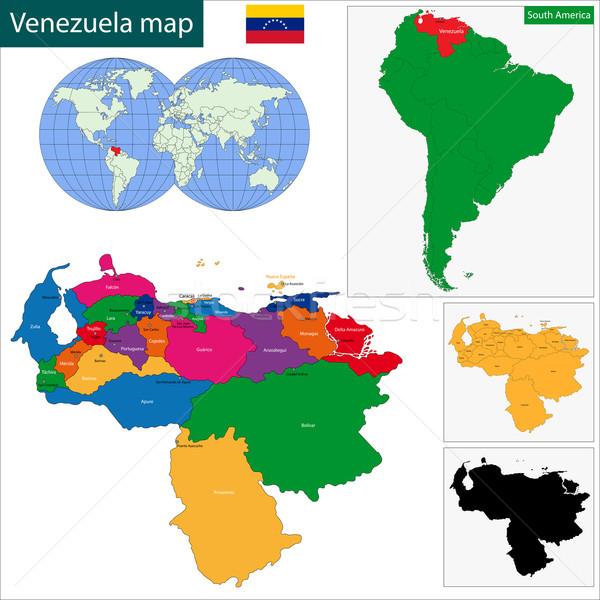 Venezuela térkép köztársaság színes fényes színek Stock fotó © Volina