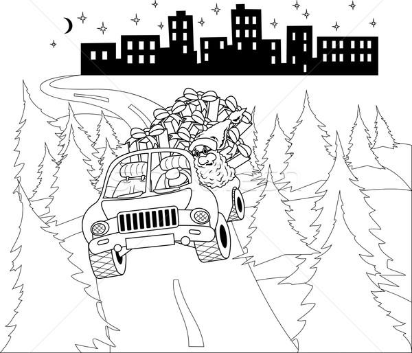 Papai noel condução carro natal presentes ilustração Foto stock © Volina