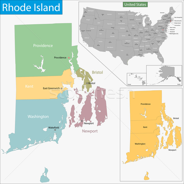 Rhode Island map Stock photo © Volina
