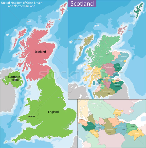 Mapa Escocia país Reino Unido tercero Foto stock © Volina