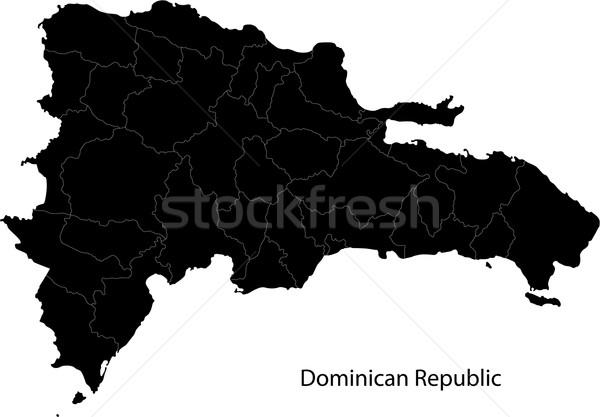 Preto República Dominicana mapa cidade ilha traçar Foto stock © Volina