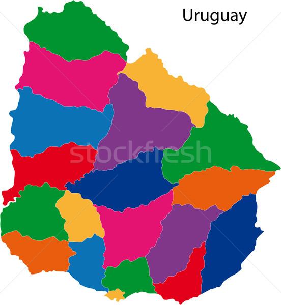 красочный Уругвай карта административный дизайна цвета Сток-фото © Volina
