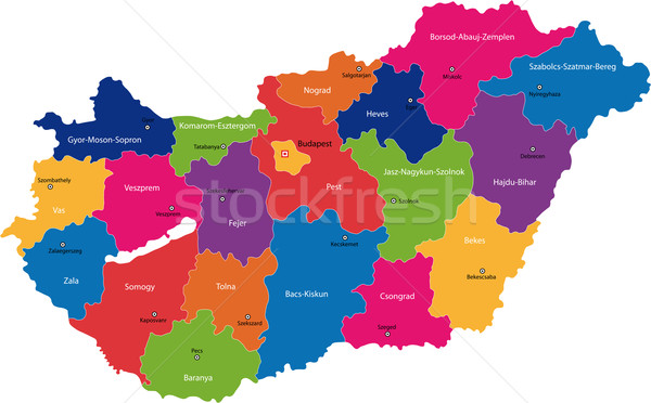 Hungria mapa administrativo república traçar país Foto stock © Volina