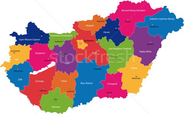 Hungría mapa administrativo república tabla país Foto stock © Volina