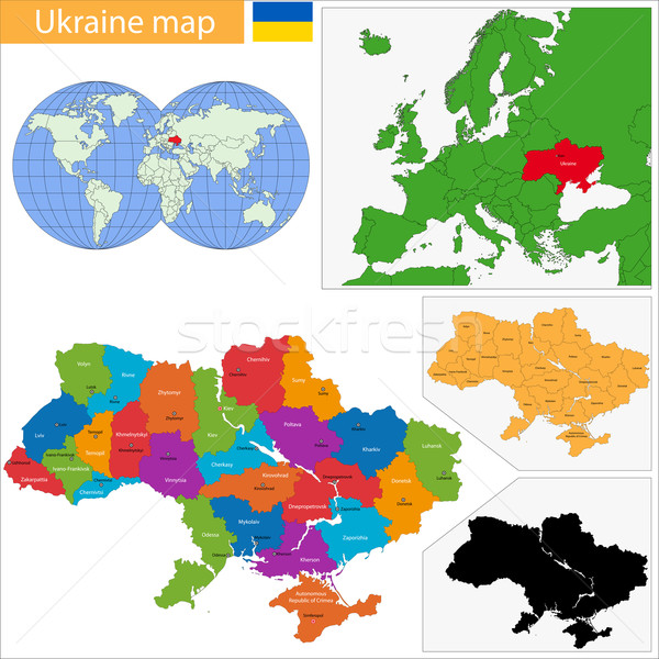 ウクライナ 地図 行政の 市 旅行 シルエット ストックフォト © Volina
