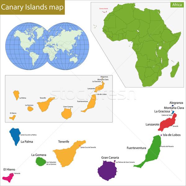 カナリア諸島 地図 高い 詳細 精度 背景 ストックフォト © Volina