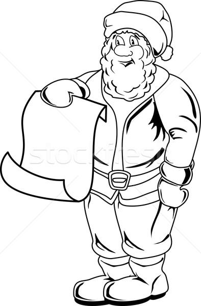 Desenho animado papai noel lista página grande Foto stock © Volina