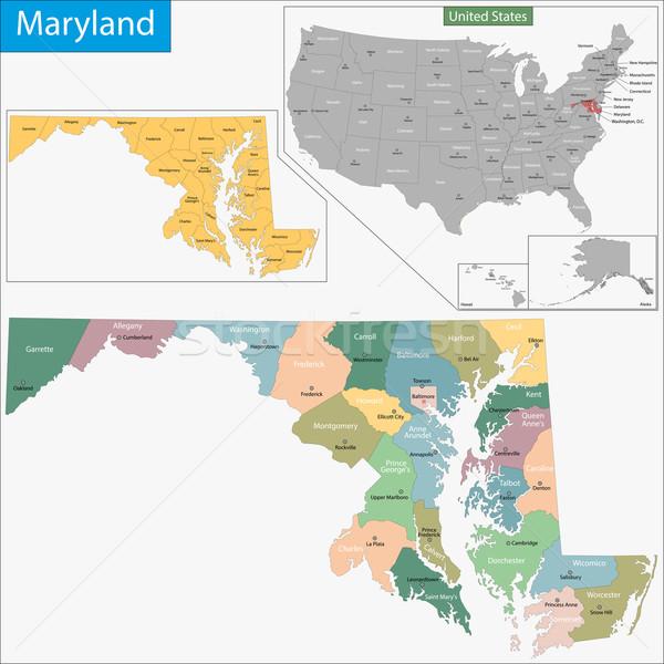 Мэриленд карта иллюстрация США Вашингтон Соединенные Штаты Сток-фото © Volina