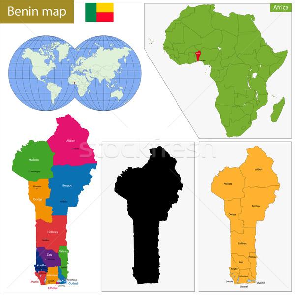 Бенин карта административный республика африканских подробность Сток-фото © Volina