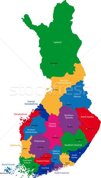 Финляндия карта цвета административный город дизайна Сток-фото © Volina