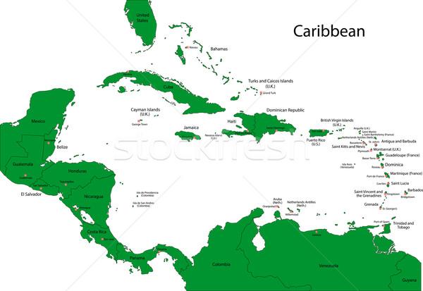 地図 カリビアン 国 首都 グラフ 国 ストックフォト © Volina