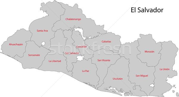 Cinza El Salvador mapa departamento cidade Foto stock © Volina