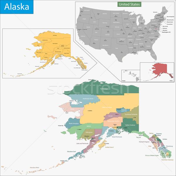 Alaska carte illustration USA Washington détail Photo stock © Volina