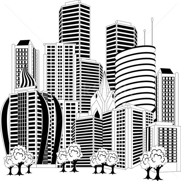 Centro da cidade linha do horizonte preto e branco ilustração cityscape árvore Foto stock © Volina