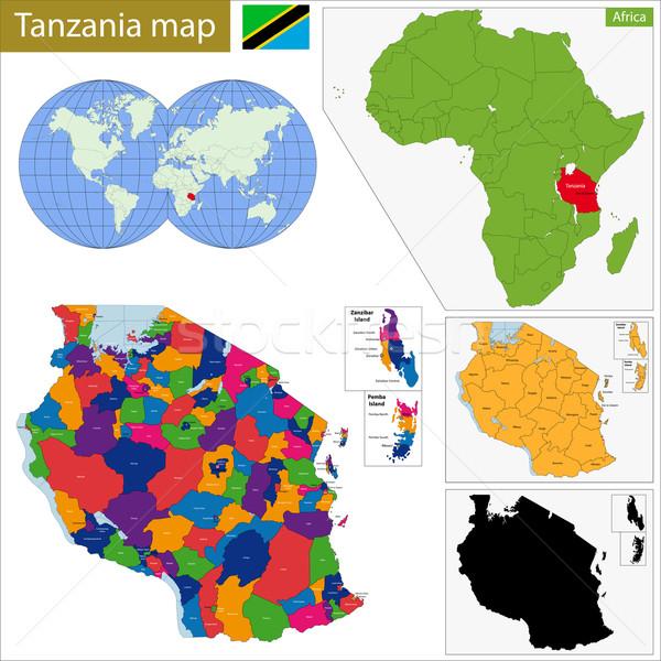 Tanzania mappa amministrativa repubblica paese african Foto d'archivio © Volina