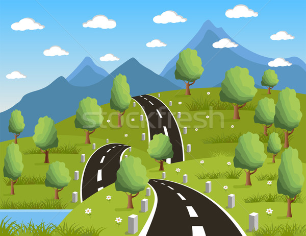 Spring or summer road to the mountain Stock photo © Volina