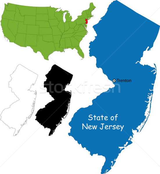 New Jersey kaart illustratie USA kleur land Stockfoto © Volina