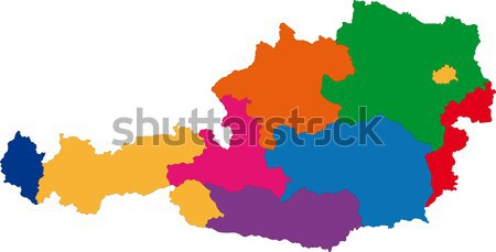Colorful Austria map Stock photo © Volina