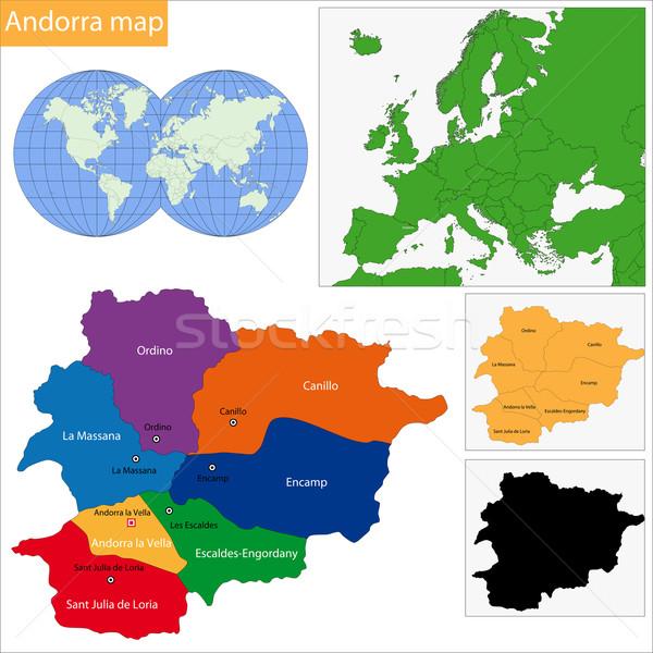 Andorra mapa administrativo fundo cor traçar Foto stock © Volina
