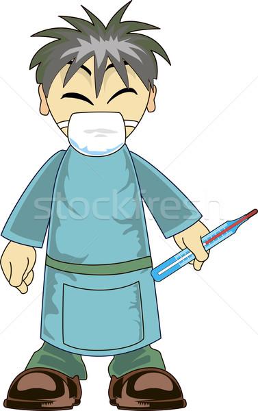 Asya doktor örnek karikatür termometre Stok fotoğraf © Volina