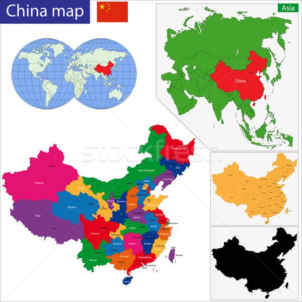 Китай карта цвета мира Мир Сток-фото © Volina