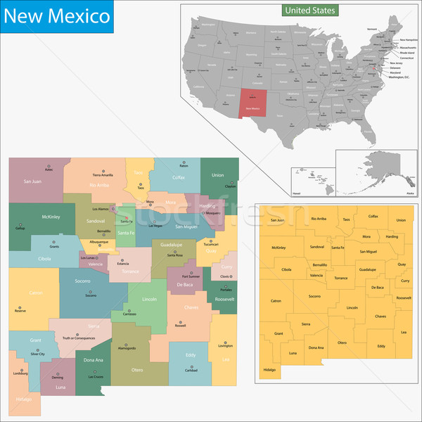 New Mexico harita örnek batı ABD Washington Stok fotoğraf © Volina