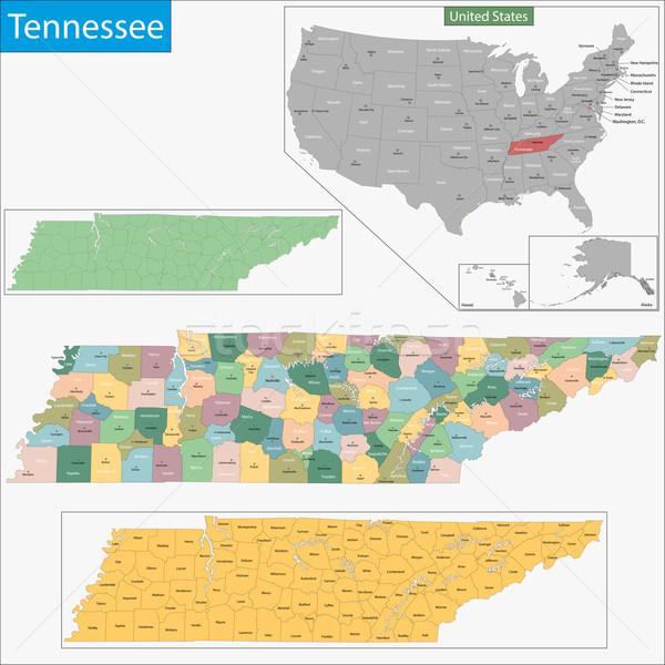 Tennesse mapa ilustración EUA Washington Estados Unidos Foto stock © Volina