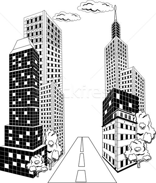 Karikatür şehir şehir merkezinde sokak ofis binaları perspektif Stok fotoğraf © Volina