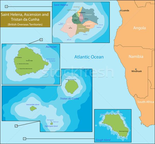 Saint Helena, Ascension and Tristan da Cunha map Stock photo © Volina