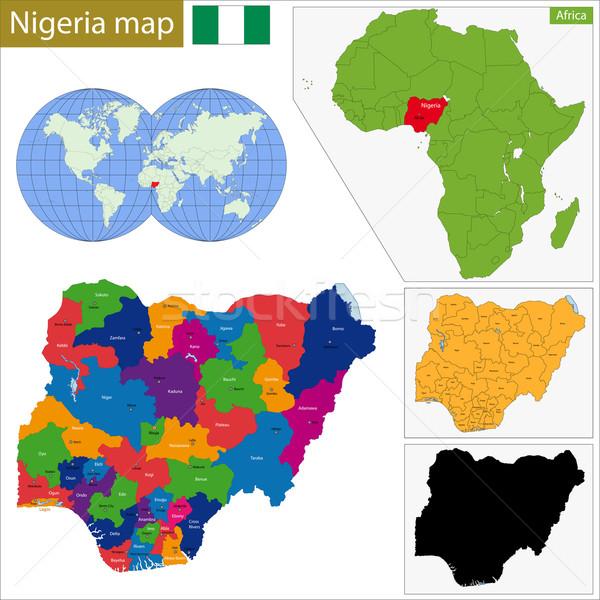 Nigeria mapa administrativo federal república África Foto stock © Volina