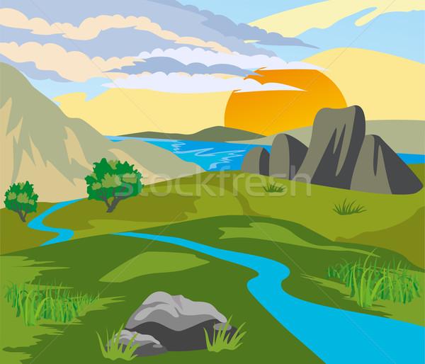 реке долины закат гор солнце природы Сток-фото © Volina