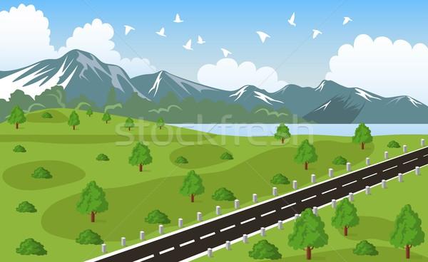 Beleza paisagem montanha ilustração céu Foto stock © Volina