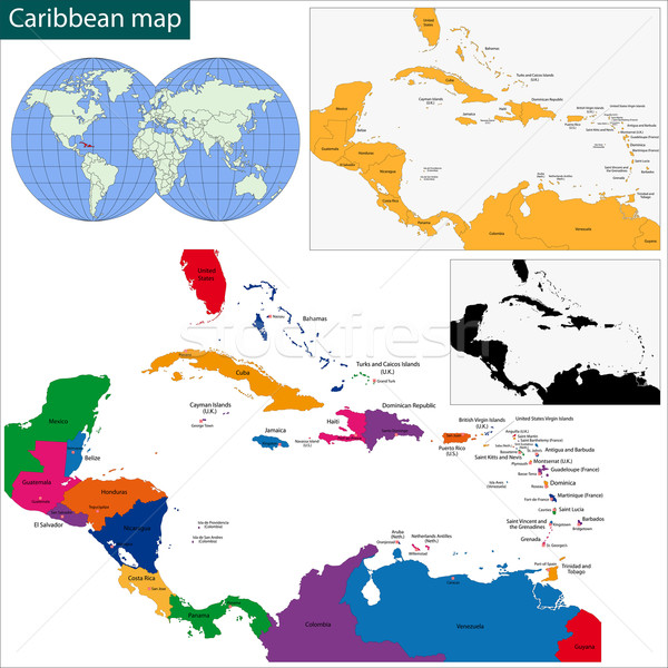 Caribbean map Stock photo © Volina