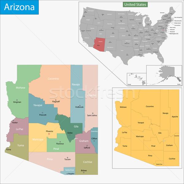 Arizona kaart illustratie USA Washington detail Stockfoto © Volina