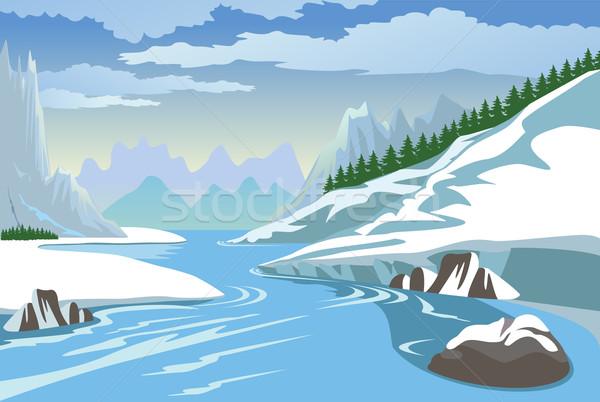 гор реке зима красивой пейзаж горные Сток-фото © Volina
