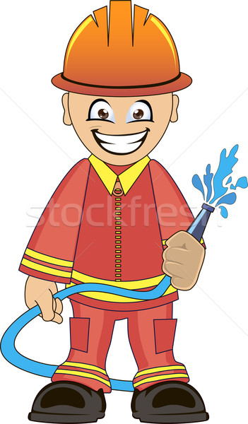 Firefighter in uniform with fire hose Stock photo © Volina