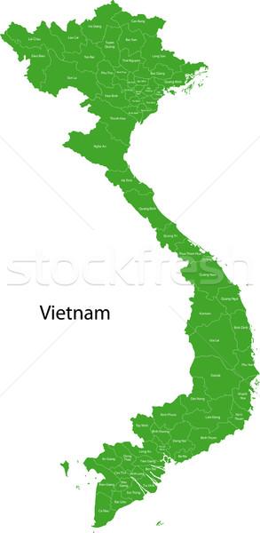 Zöld Vietnam térkép fővárosok terv diagram Stock fotó © Volina