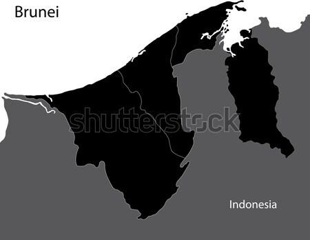 Zwarte Brunei kaart stad ontwerp achtergrond Stockfoto © Volina