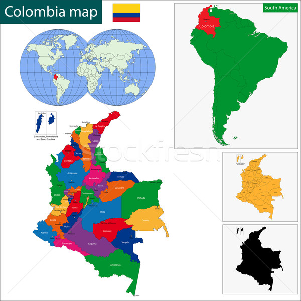 Colombia map Stock photo © Volina