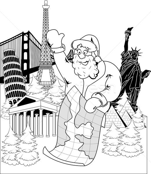 Noel baba harita yalıtılmış beyaz adam Stok fotoğraf © Volina