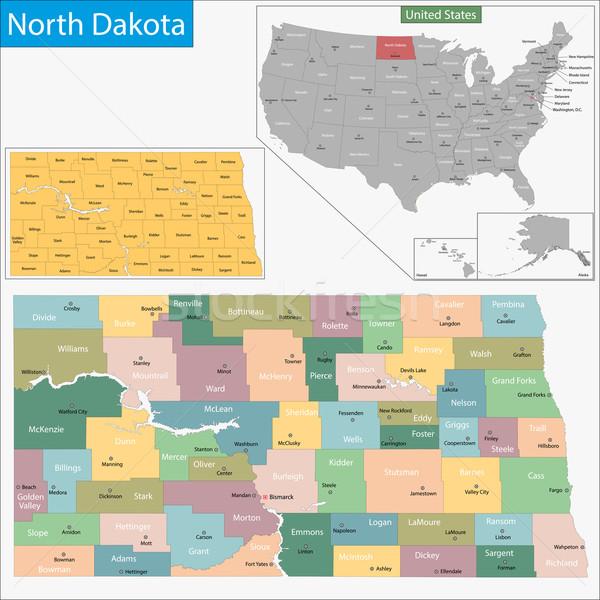 North Dakota kaart illustratie USA Washington Verenigde Staten Stockfoto © Volina