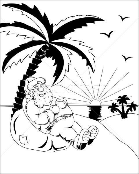 Noel baba palmiye çanta hediyeler oturma hurma ağacı Stok fotoğraf © Volina