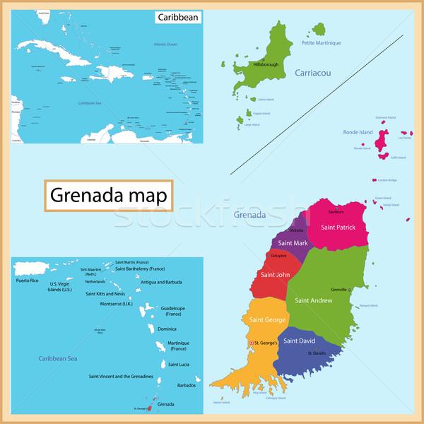 Grenada map Stock photo © Volina