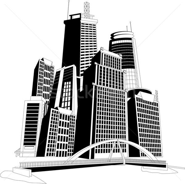 центра Skyline черно белые иллюстрация Cityscape дерево Сток-фото © Volina