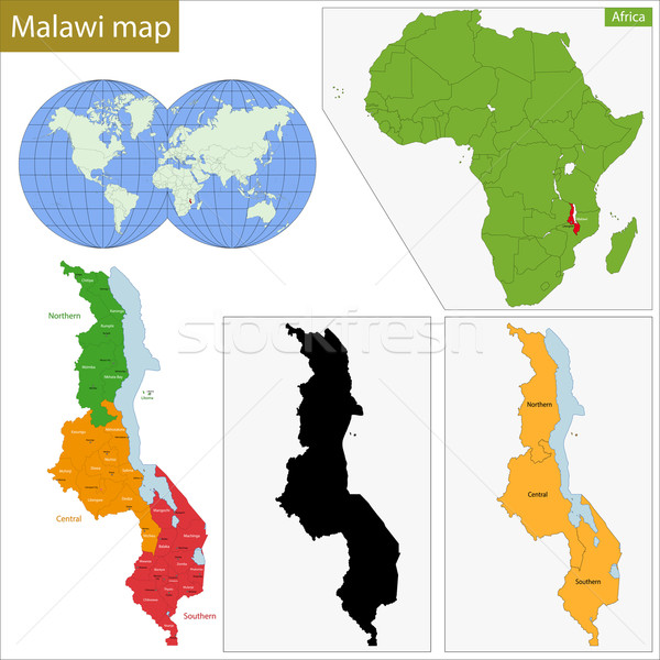Malawi map Stock photo © Volina
