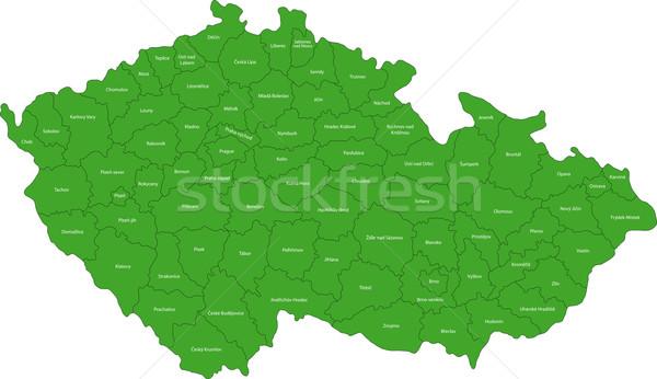 Verde República Checa mapa regiões cor branco Foto stock © Volina