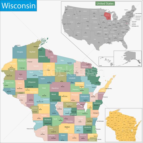 Wisconsin carte illustration USA Washington États-Unis Photo stock © Volina