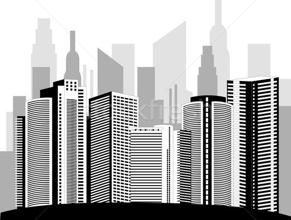 Nowoczesne metropolia miasta wieżowce panoramę refleksji Zdjęcia stock © Volina